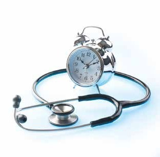 out of hours clock and stethoscope